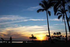 Sunset at Waikiki Beach with silhouette palm trees in Honolulu, Hawaii. Beautiful, multi colour sunset at Waikiki Beach, throwing the palm trees into a Stock Images