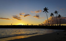 Sunset in waikiki hawaii Royalty Free Stock Photography