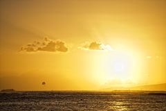 Sunset in waikiki Royalty Free Stock Photos