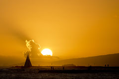 Sunset in waikiki Stock Photo