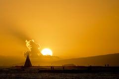 Sunset in waikiki Stock Photo