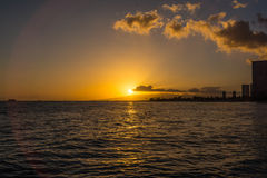 Sunset in Waikiki, Oahu, Hawaii royalty free stock photography