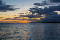 Sunset in Waikiki, Oahu, Hawaii Stock Photography