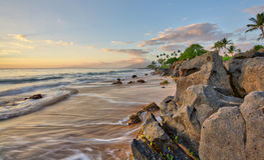 Sunset at Wailea Beach Stock Image