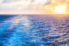 Sunset in Wake of Cruise Ship Royalty Free Stock Photo