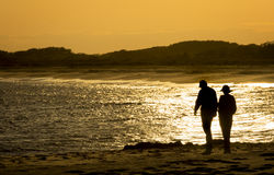 Sunset Walk on the Beach Stock Photo