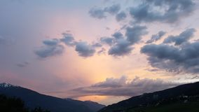 Sunset. Wallis Schweiz Juni Sonnenuntergang Stock Photos