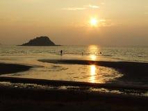 Sunset. Wallpaper dark sea Stock Photography