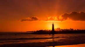 Sunset at Walton Lighthouse Royalty Free Stock Images