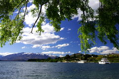 Sunset Wanaka. Watching sunset and snow mountain by lake wanaka, New Zealand Royalty Free Stock Photo