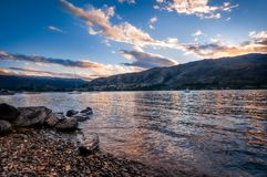 Sunset at Wanaka Lake in New Zealand. Sunset at Wanaka lake front from Eely Point Recreation Reserve. Wanaka is a popular ski and summer resort town in the Otago Royalty Free Stock Photography