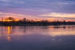Sunset in Warsaw Royalty Free Stock Image