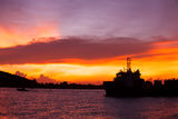 Orange Sky Silhouette Sunset of Warship Landscape Royalty Free Stock Photography