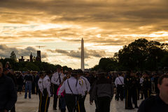 Sunset at the Washington Monument Stock Image