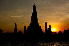 Sunset Wat Arun Temple. Stock Photos