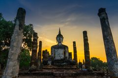 Sunset at Wat Mahatat. In Sukhothai. A UNESCO world heritage site in Thailand royalty free stock images