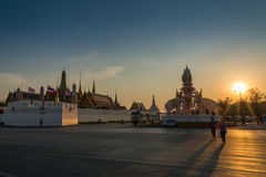 Sunset at Wat Phra Kaew or Temple of the Emerald Buddha Royalty Free Stock Photography