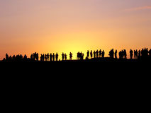 Sunset watchers. In Palmyra (Syria royalty free stock image