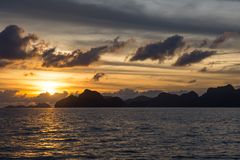 Sunset watching in El Nido, Palawan, Philippines stock photos