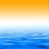 Sunset and water. Orange sunset and crystal blue water Stock Photos