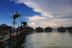 Sunset in Water bungalow. In Malaysia Gaya Island Stock Photography