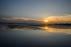 Sunset on water, Danube Delta Romania Stock Image