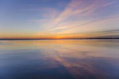 Sunset on Water in Elliott Bay Royalty Free Stock Photography