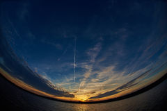 Sunset on the water. Sunset water evening sky cloud sunrise Stock Photo