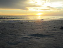 Sunset on the Water in Lido Beach,  Florida. Sunset colors on the beach on Lido Beach Florida Royalty Free Stock Photos