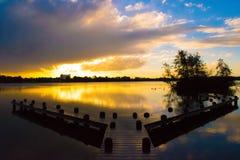 Sunset. Water orange blue netherlands reflection Stock Images