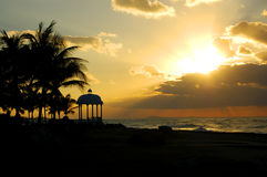 Sunset water and palmtrees Royalty Free Stock Photo