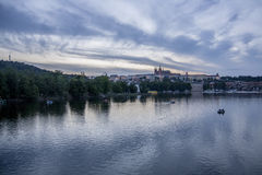 Sunset by water in Prague Royalty Free Stock Photos