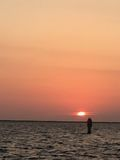 Sunset on the Water in Punta Gorda Florida. Bird`s eye view after dinner on Charlotte Harbour Fl Stock Photography