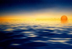 Sunset on water reflection Royalty Free Stock Images