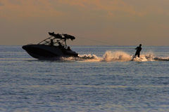 Sunset Water Skier / Skiing Stock Photography