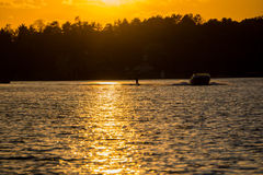 Sunset Water Skiing royalty free stock photos