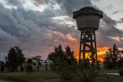 Sunset and Water Tank Atlantida Brazil Stock Image