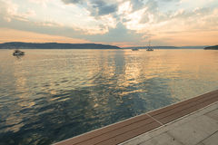 Sunset  on waterfront of Canakkale,  Marmara Sea. Royalty Free Stock Images