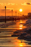 Sunset on the waterfront in the city of Saratov. Urban landscape Stock Images