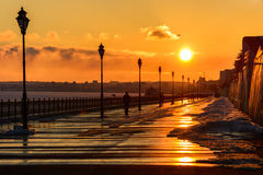 Sunset on the waterfront in the city of Saratov. Urban landscape Stock Photo