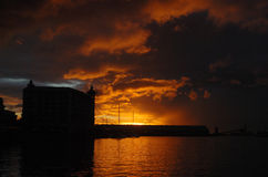 Sunset at the waterfront. Dramatic sunset at the waterfront in Port Louis Mauritius Stock Photography