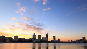 Sunset on the waterfront. Ekaterinburg, Russia. T