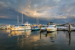Sunset on the waterfront, in Fells Point, Baltimore, Maryland.  royalty free stock photos
