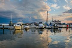 Sunset on the waterfront, in Fells Point, Baltimore, Maryland.  stock images