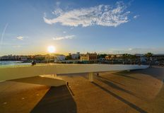 Sunset on the waterfront next to the port in the city of Valencia in the spring. Spain stock images
