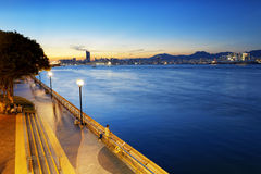 Sunset in Waterfront Promenade Stock Photography