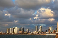 Sunset on the waterfront promenade in Tel Aviv. Royalty Free Stock Photos