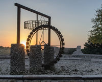Sunset on the waterwheel Royalty Free Stock Photo