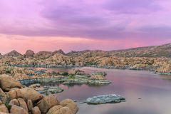 Sunset at Watson lake Royalty Free Stock Image