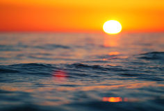 Sunset wave. Calm summer wave at the sunset, shallow DOF Stock Image